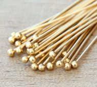 1.5 Inch 22 Gauge Ball Pins, Gold Plated