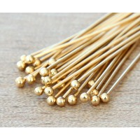 2 Inch 22 Gauge Ball Pins, Gold Plated