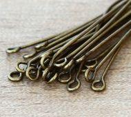 1 Inch 21 Gauge Eye Pins, Antique Brass