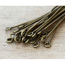 1.5 Inch 21 Gauge Eye Pins, Antique Brass