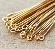1 Inch 21 Gauge Eye Pins, Gold Plated