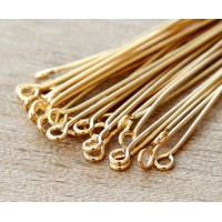 2 Inch 21 Gauge Eye Pins, Gold Plated, Pack of 100