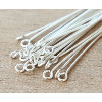 2 Inch 21 Gauge Eye Pins, Silver Plated, Pack of 100