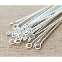 1.5 Inch 21 Gauge Eye Pins, Silver Plated