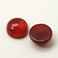 Red Agate Cabochons, 10mm Round, Pack of 5