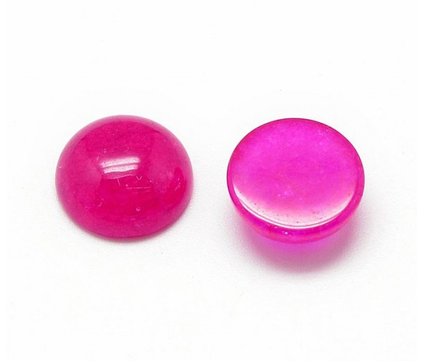 Fuchsia Pink Agate Cabochons, Dyed, 12mm Round, Pack of 5