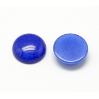 Blue Candy Jade Cabochons, Dyed, 12mm Round, Pack of 5
