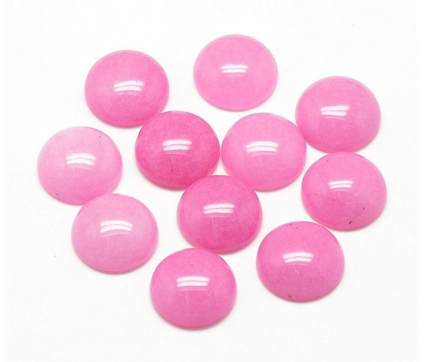 Light Pink Candy Jade Cabochons, Dyed, 10mm Round, Pack of 5