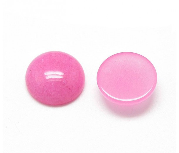Light Pink Candy Jade Cabochons, Dyed, 10mm Round