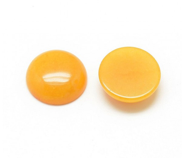 Honey Yellow Candy Jade Cabochons, Dyed, 10mm Round