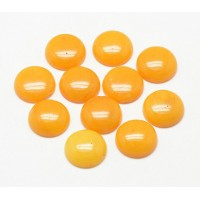 Honey Yellow Candy Jade Cabochons, Dyed, 8mm Round