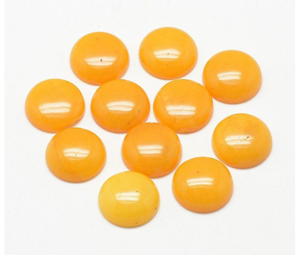 Honey Yellow Candy Jade Cabochons, Dyed, 10mm Round, Pack of 5