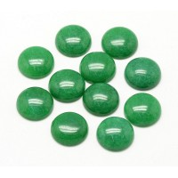 Green Candy Jade Cabochons, Dyed, 8mm Round, Pack of 10