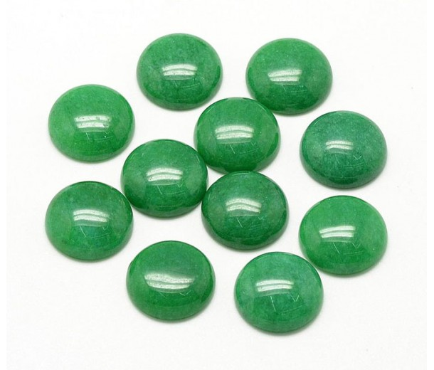 Green Candy Jade Cabochons, Dyed, 10mm Round, Pack of 5