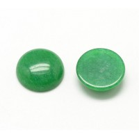 Green Candy Jade Cabochons, Dyed, 10mm Round
