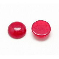Red Candy Jade Cabochons, Dyed, 12mm Round, Pack of 5