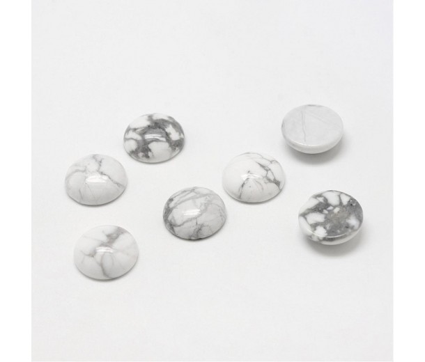 White Howlite Cabochons, 10mm Round