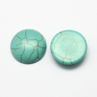 Imitation Turquoise Cabochons, Teal, 8mm Round