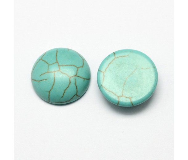 Imitation Turquoise Cabochons, Teal, 10mm Round, Pack of 5