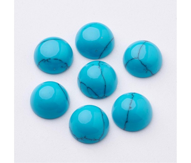 Imitation Turquoise Cabochons, Blue, 8mm Round, Pack of 10