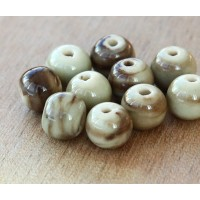 8mm Round Ceramic Beads, Brown Swirl