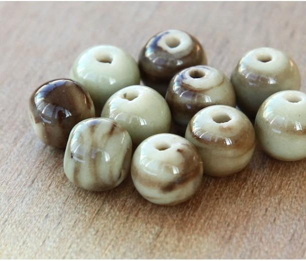 8mm Round Ceramic Beads, Brown Swirl