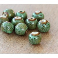 8mm Round Ceramic Beads, Leaf Green