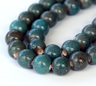10mm Round Ceramic Beads, Denim Blue