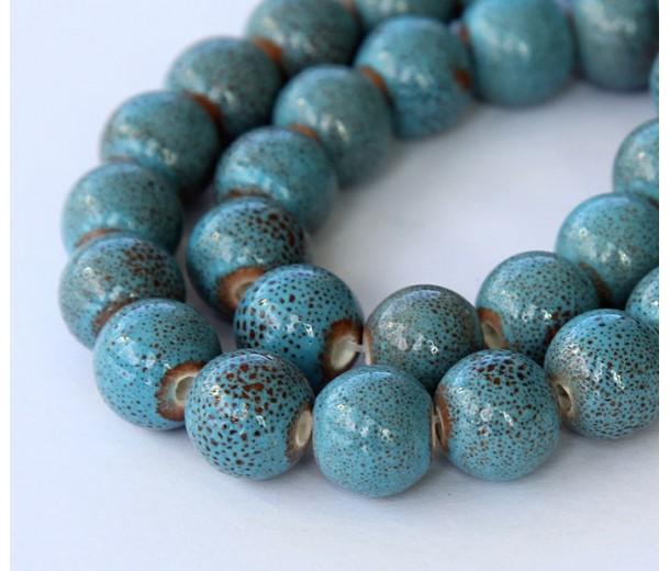 10mm Round Ceramic Beads, Light Blue