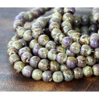 6mm Round Ceramic Beads, Purple and Beige