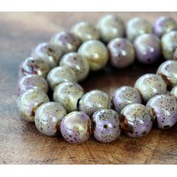 8mm Round Ceramic Beads, Purple and Beige