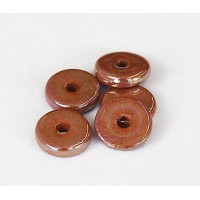 13mm Round Disk Iridescent Ceramic Beads, Light Brown, Pack of 6
