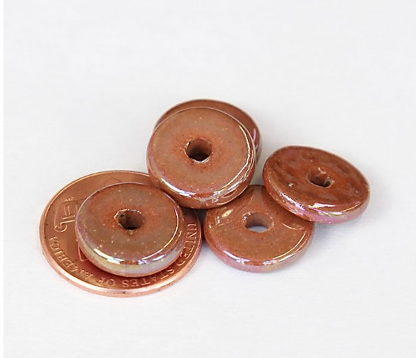 13mm Round Disk Iridescent Ceramic Beads, Light Brown, Pack of 10
