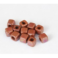 5mm Cube Iridescent Ceramic Beads, Light Brown, Pack of 10