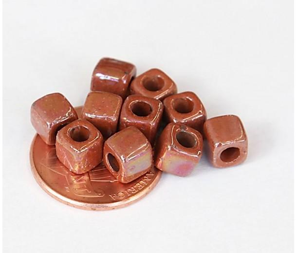 5mm Cube Iridescent Ceramic Beads, Light Brown, Pack of 10