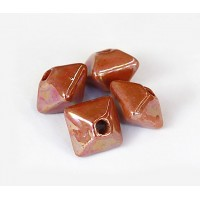 12mm Pillow Iridescent Ceramic Beads, Light Brown, Pack of 3