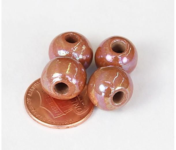 12mm Round Iridescent Ceramic Beads, Light Brown, Pack of 3