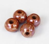 12mm Round Iridescent Ceramic Beads, Light Brown
