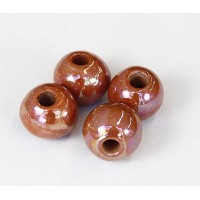 12mm Round Iridescent Ceramic Beads, Light Brown, Pack of 3