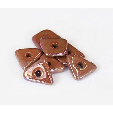 14mm Big Chip Iridescent Ceramic Beads, Light Brown, Pack of 5