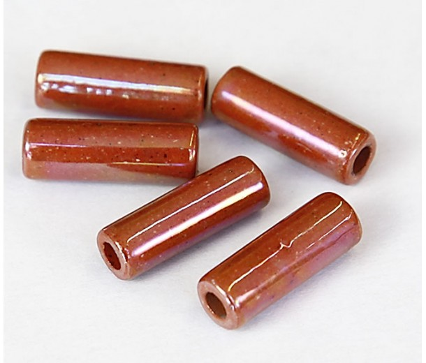 17x6mm Thick Tube Iridescent Ceramic Beads, Light Brown