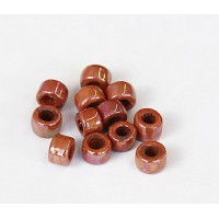 6x4mm Mini Barrel Iridescent Ceramic Beads, Light Brown
