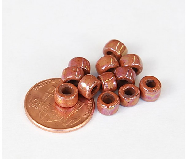 6x4mm Mini Barrel Iridescent Ceramic Beads, Light Brown, Pack of 10