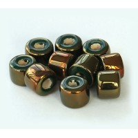 8x7mm Short Barrel Iridescent Ceramic Beads, Dark Green