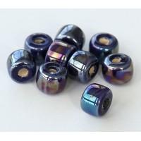 8x7mm Short Barrel Iridescent Ceramic Beads, Dark Blue