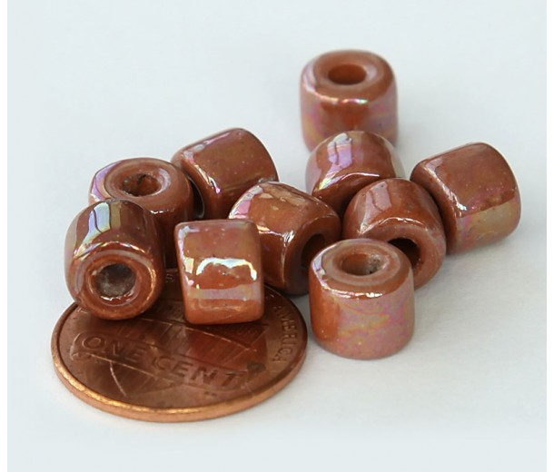 8x7mm Short Barrel Iridescent Ceramic Beads, Light Brown, Pack of 8