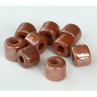 8x7mm Short Barrel Iridescent Ceramic Beads, Light Brown