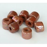 8x7mm Short Barrel Iridescent Ceramic Beads, Light Brown