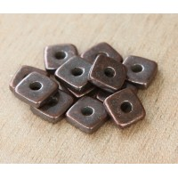 8mm Square Heishi Disk Metalized Ceramic Beads, Bronze Plated, Pack of 10