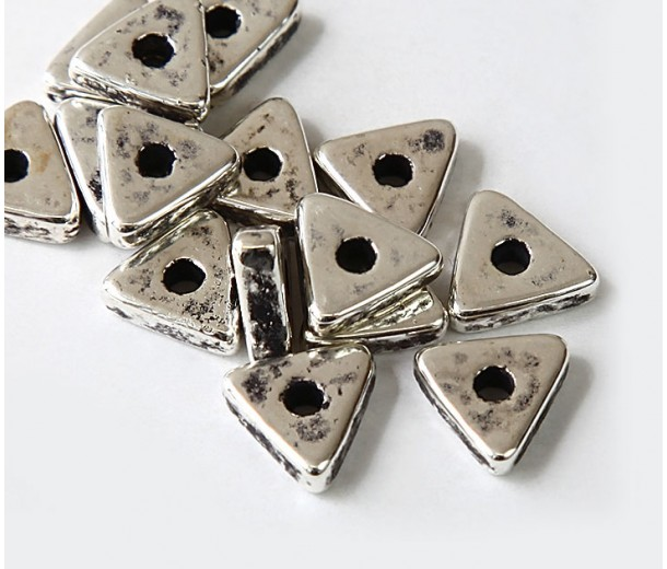 10mm Triangular Heishi Disk Metalized Ceramic Beads, Antique Silver